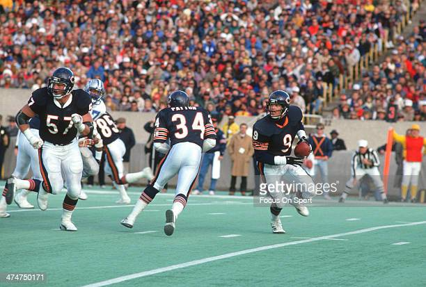 Jim McMahon of the Chicago Bears rolls out with the ball against the Detroit Lions during an NFL Football game November 22 1987 at Soldier Field in...