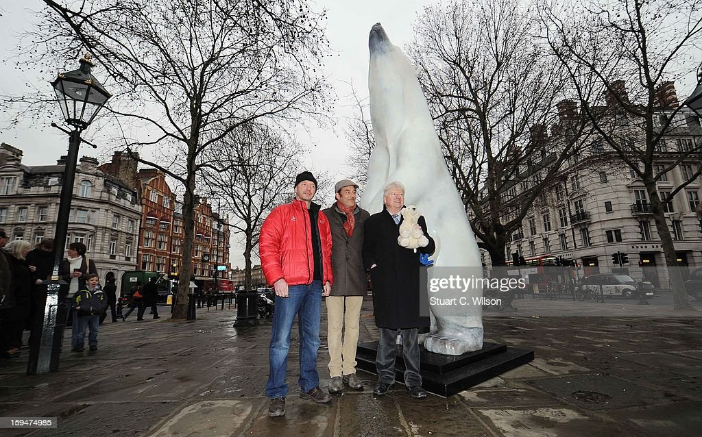 Jim McNeill and Adam Binder attend the unveiling of the statue of 'Boris The Polar Bear' to launch the Great British campaign to save the species at Sloane Square on January 14, 2013 in London, England.