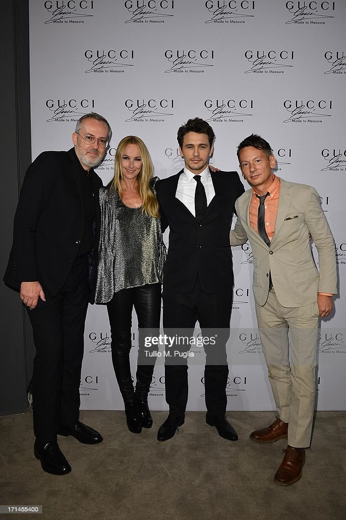 Jim Moore, Frida Giannini, James Franco and Jim Nelson attend 'Gucci Made to Measure Launch' on June 24, 2013 in Milan, Italy.