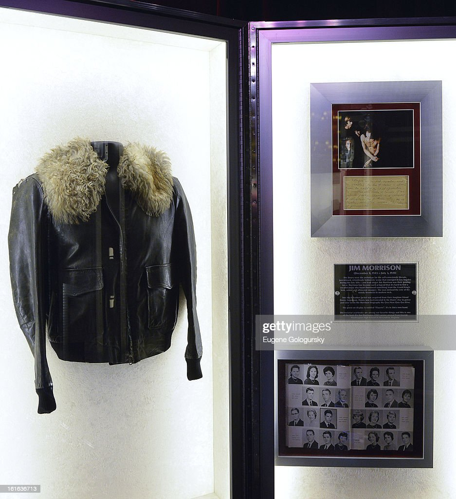Jim Morrison memorabilia at the 'Gone Too Soon' and 'Music Gives Back' Media Preview Day at the Hard Rock Cafe, Times Square on February 13, 2013 in New York City.