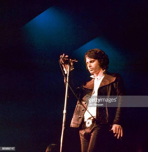 Jim Morrison of The Doors performs in a TV studio in Copenhagen Denmark on September 18 1968
