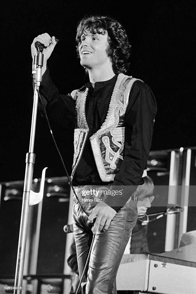 Jim Morrison of The Doors stands on stage during a 1968 concert at the Hollywood Bowl