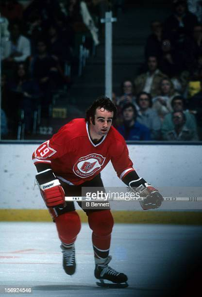 Jim Moxey of the Cleveland Barons skates on the ice during an NHL game against the New York Islanders on October 16 1976 at the Nassau Coliseum in...