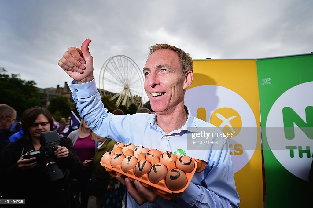 Jim Murphy, Shadow Secretary of State for International Development holds a carton of eggs following talking to to Better Together supporters at the Mound on September 2, 2014 in Edinburgh,Scotland. Mr Murphy postponed his 100 towns 100 days tour, following being hit by eggs last Friday, claiming that the Yes campaign had organised mobs to intimidate not only him but the undecided voters.