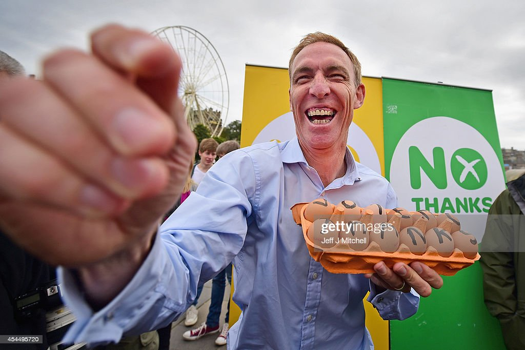 <a gi-track='captionPersonalityLinkClicked' href=/galleries/search?phrase=Jim+Murphy+-+Politician&family=editorial&specificpeople=13566433 ng-click='$event.stopPropagation()'>Jim Murphy</a>, Shadow Secretary of State for International Development holds a carton of eggs following talking to to Better Together supporters at the Mound on September 2, 2014 in Edinburgh,Scotland. Mr Murphy postponed his 100 towns 100 days tour, following being hit by eggs last Friday, claiming that the Yes campaign had organised mobs to intimidate not only him but the undecided voters.