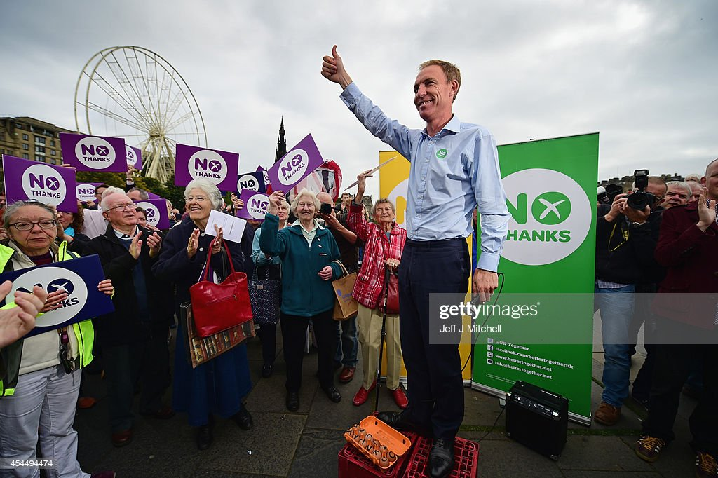 <a gi-track='captionPersonalityLinkClicked' href=/galleries/search?phrase=Jim+Murphy+-+Politician&family=editorial&specificpeople=13566433 ng-click='$event.stopPropagation()'>Jim Murphy</a>, Shadow Secretary of State for International Development speaks to Better Together supporters at the Mound on September 2, 2014 in Edinburgh,Scotland. Mr Murphy postponed his 100 towns 100 days tour, following being hit by eggs last Friday, claiming that the Yes campaign had organised mobs to intimidate not only him but the undecided voters.
