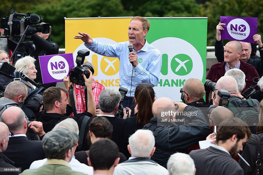 Jim Murphy, Shadow Secretary of State for International Development speaks to Better Together supporters at the Mound on September 2, 2014 in Edinburgh,Scotland. Mr Murphy postponed his 100 towns 100 days tour, following being hit by eggs last Friday, claiming that the Yes campaign had organised mobs to intimidate not only him but the undecided voters.