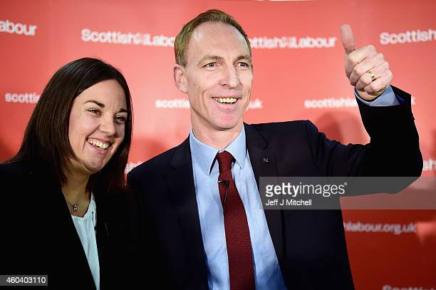 Jim Murphy stands with Kezia Dugdale after being announced as the new leader of the Scottish Labour Party on December 13 2014 in Glasgow Scotland The...