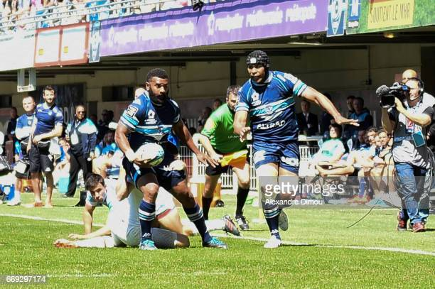Jim Nagusa and Akapusi Qera of Montpellier during the Top 14 match between Montpellier and Bayonne on April 16 2017 in Montpellier France