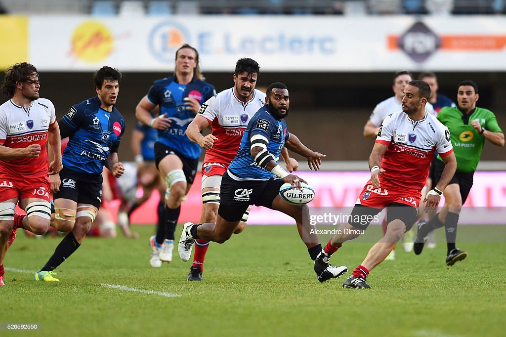 Jim Nagusa of Montpellier during the French Top 14 rugby union match between Montpellier v Grenoble on April 30, 2016 in Montpellier, France.