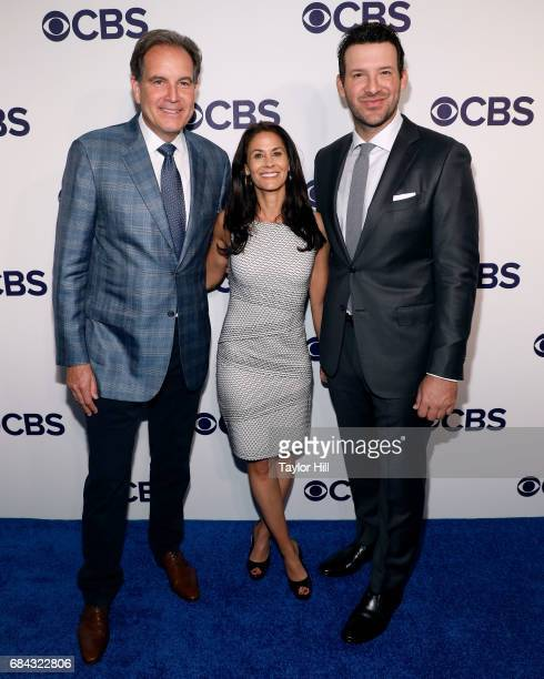 Jim Nantz Tracy Wolfson and Tony Romo attend the 2017 CBS Upfront at The Plaza Hotel on May 17 2017 in New York City