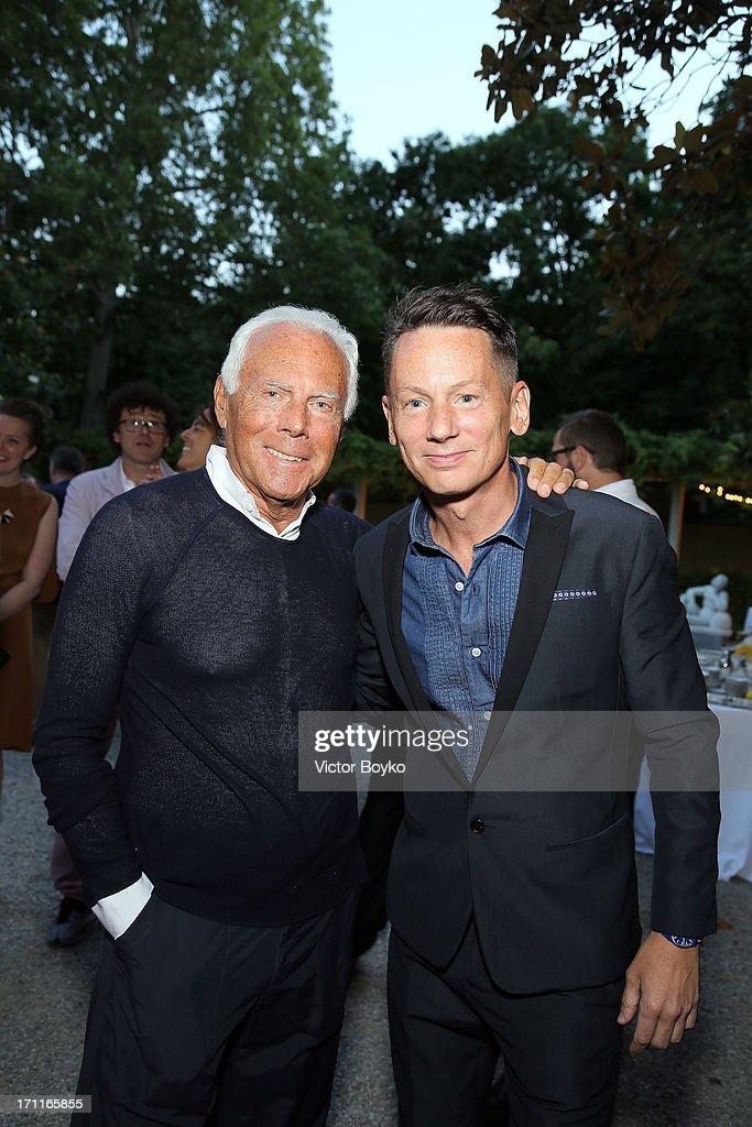 Jim Nelson and Giorgio Armani attend GQ Celebrates Jim Nelson's 10th Anniversary as EditorinChief Party on June 22 2013 in Milan at Villa Necchi on...