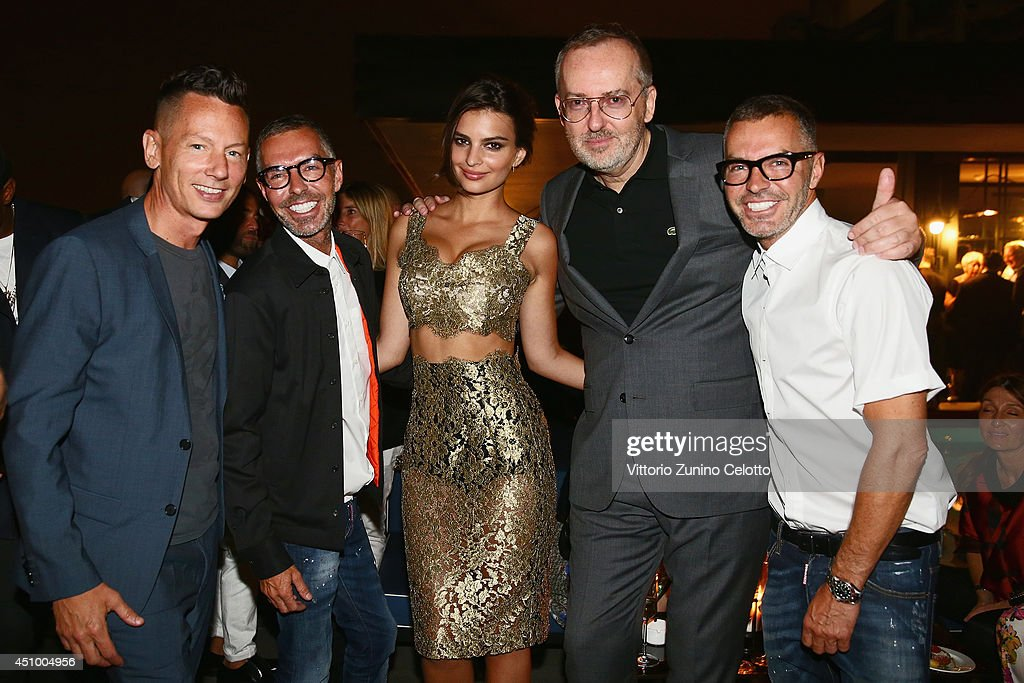 Jim Nelson Dean Caten Emily Ratajkowski Jim Moore and Dan Caten attend the 'GQ Celebrates The Spring 2015 Milan Collection' on June 21 2014 in Milan...