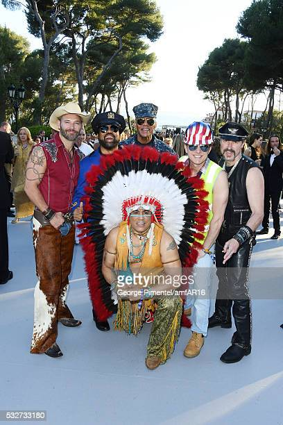 Jim Newman Ray Simpson Alex Briley Bill Whitefield Eric Anzalone and Felipe Rose of the band Village People attend the amfAR's 23rd Cinema Against...