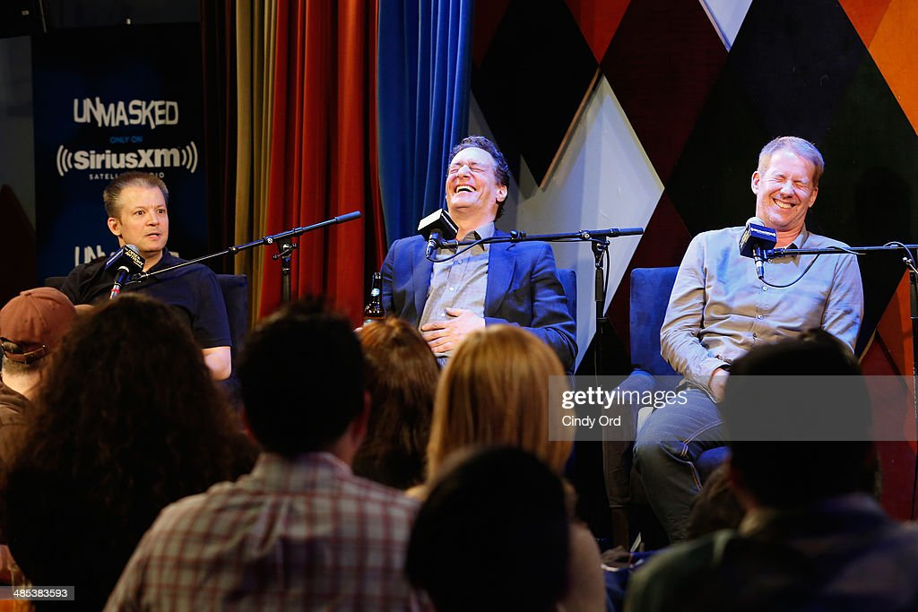 Jim Norton, <a gi-track='captionPersonalityLinkClicked' href=/galleries/search?phrase=Anthony+Cumia&family=editorial&specificpeople=6345627 ng-click='$event.stopPropagation()'>Anthony Cumia</a> and Greg 'Opie' Hughes speaks at SiriusXM's O&A20: Unmasked With Opie & Anthony Special Celebrates 20 Years Of Opie & Anthony at Carolines On Broadway on April 17, 2014 in New York City.