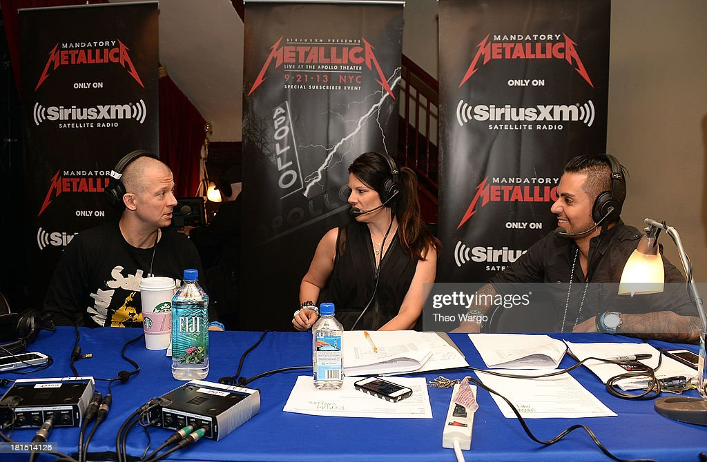 Jim Norton, Kayla Riley and Jose Mangin attend Metallica's private, exclusive concert for SiriusXM listeners at The Apollo Theater on September 21, 2013 in New York City.