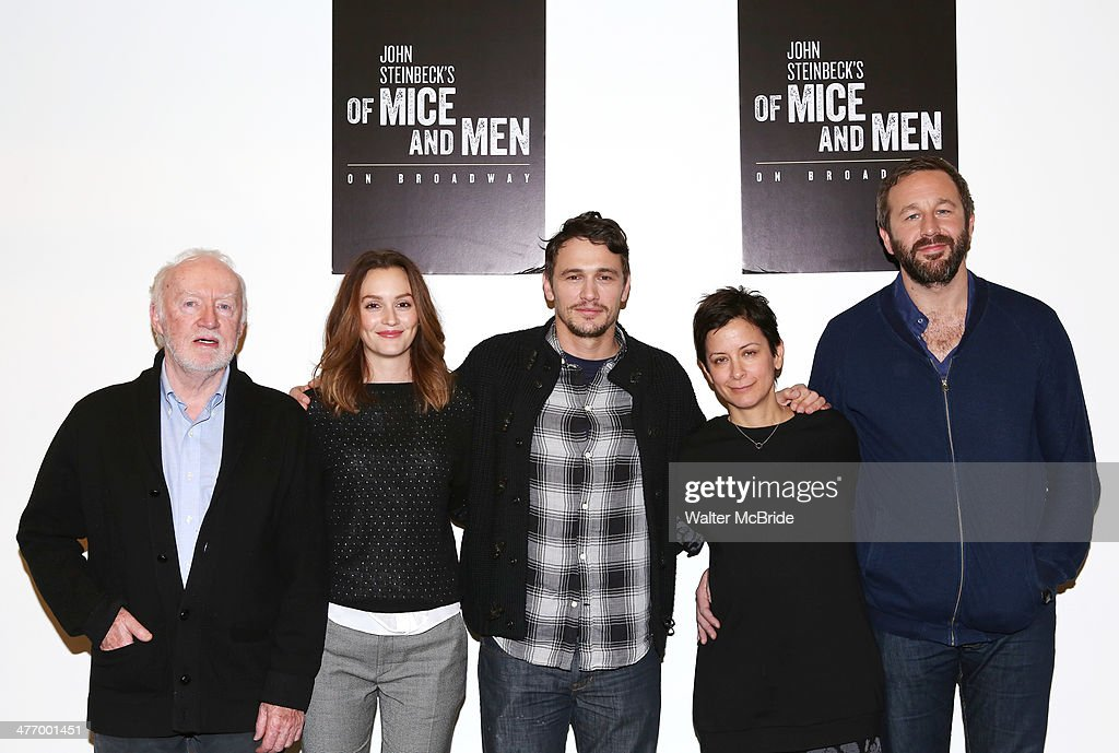 Jim Norton, Leighton Meester, James Franco, director Anna D. Shapiro and Chris O'Dowd attend the 'Of Mice And Men' press conference at Signature Theatre, Rehearsal Studio 2 on March 6, 2014 in New York City.