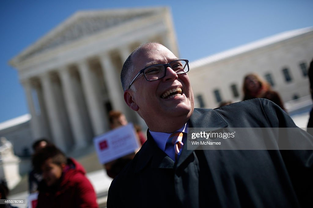Jim Obergefell plaintiff in the case Obergefell et al vs Hodges speaks in front of the US Supreme Court March 6 2015 in Washington DC Representatives...