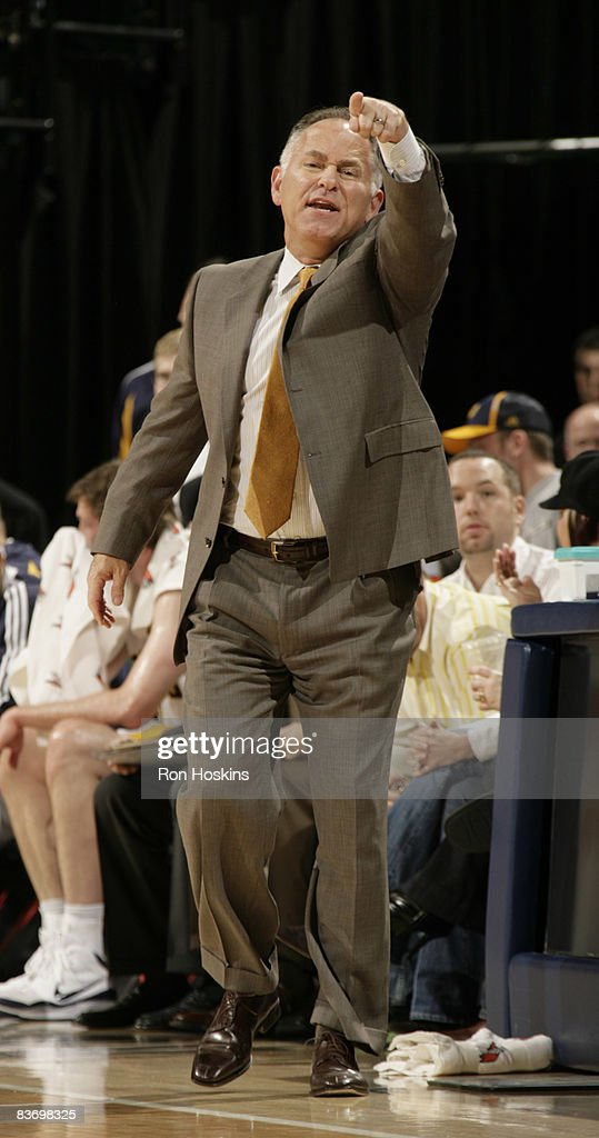 Jim O'Brien head coach of the Indiana Pacers directs his team from the sidelines at Conseco Fieldhouse on November 14 2008 in Indianapolis Indiana...