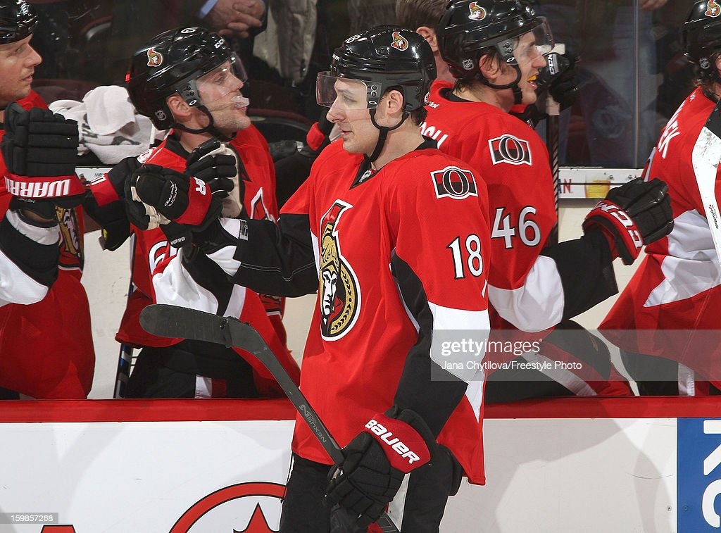 Jim O'Brien #18 of the Ottawa Senators celebrates his third period goal against the Florida Panthers with his team mates on the bench during an NHL game at Scotiabank Place on January 21, 2013 in Ottawa, Ontario, Canada.
