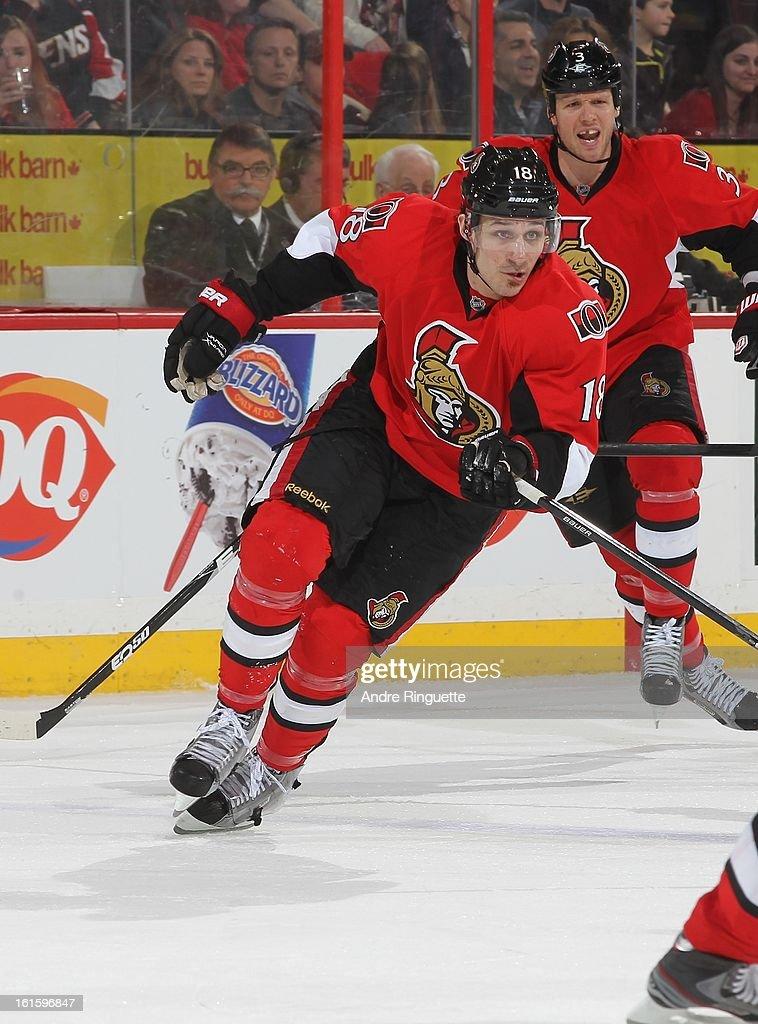 Jim O'Brien #18 of the Ottawa Senators skates against the Buffalo Sabres on February 5, 2013 at Scotiabank Place in Ottawa, Ontario, Canada.