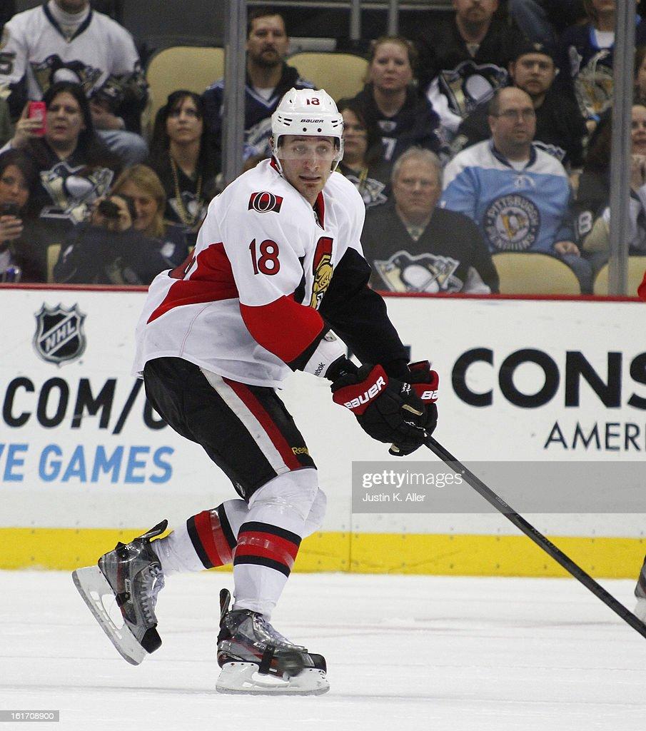 Jim O'Brien #18 of the Ottawa Senators skates against the Pittsburgh Penguins at Consol Energy Center on February 13, 2013 in Pittsburgh, Pennsylvania.