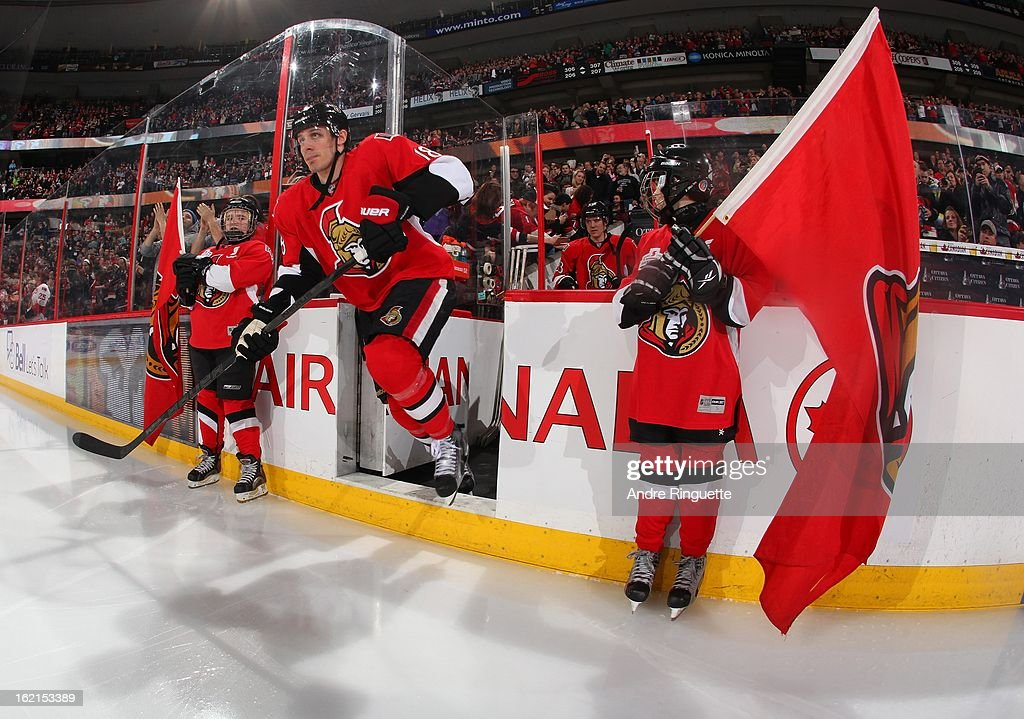 Jim O'Brien #18 of the Ottawa Senators steps onto the ice during player introductions prior to a game against the Buffalo Sabres on February 12, 2013 at Scotiabank Place in Ottawa, Ontario, Canada.