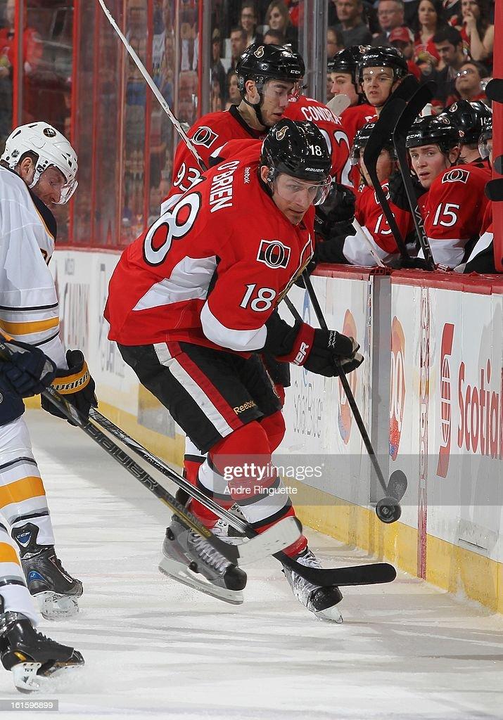 Jim O'Brien #18 of the the Ottawa Senators skates against the Buffalo Sabres on February 5, 2013 at Scotiabank Place in Ottawa, Ontario, Canada.