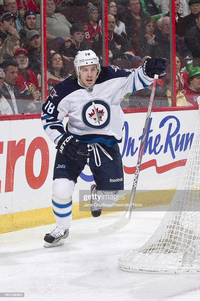Jim O'Brien #18 of the Winnipeg Jets skates during an NHL game against the Ottawa Senators at Scotiabank Place on March 17, 2013 in Ottawa, Ontario, Canada.