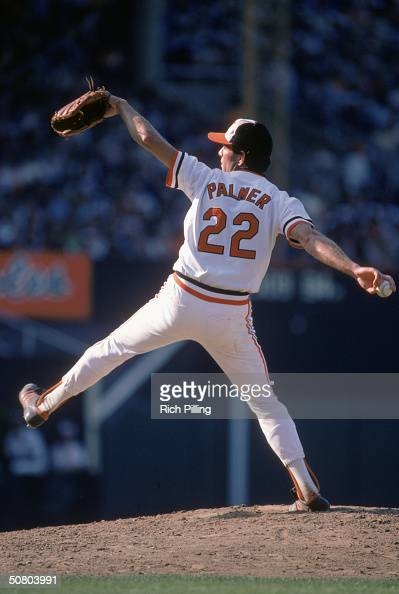 Jim Palmer of the Balimore Orioles winds up the pitch during a 1982 season game at Memorial Stadium in Baltimore Maryland