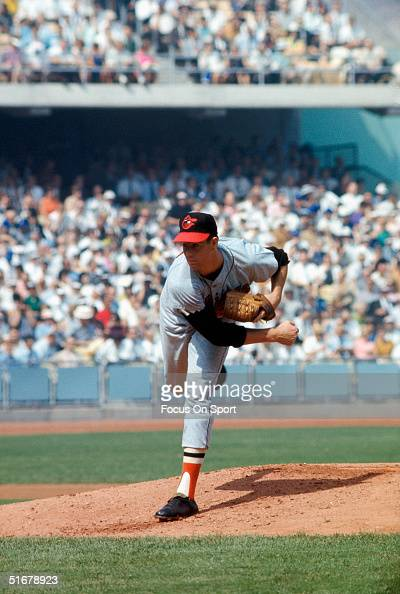 Jim Palmer of the Baltimore Orioles pitched a complete game Shuting out the Los Angeles Dodgers during Game Two of the World Series at Dodger Stadium...