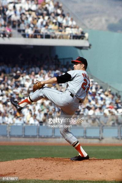 Jim Palmer of the Baltimore Orioles pitched a complete game Shutting out the Los Angeles Dodgers during Game Two of the World Series at Dodger...