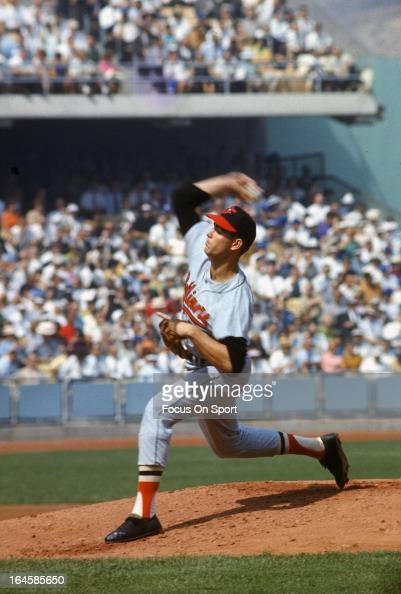Jim Palmer of the Baltimore Orioles pitches against the Los Angeles Dodgers during Game 2 of the 1966 World Series at Dodger Stadium in October 6...