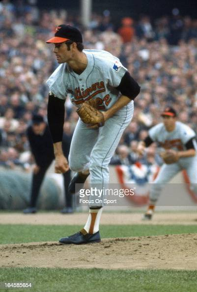 Jim Palmer of the Baltimore Orioles pitches against the New York Mets during Game 3 of the 1966 World Series at Shea Stadium October 14 1969 in the...
