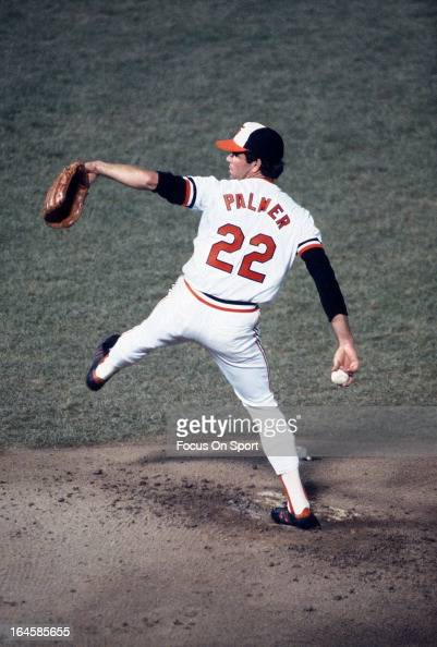 Jim Palmer of the Baltimore Orioles pitches against the Pittsburgh Pirates during Game 2 of the 1979 World Series at Memorial Stadium October 11 1979...