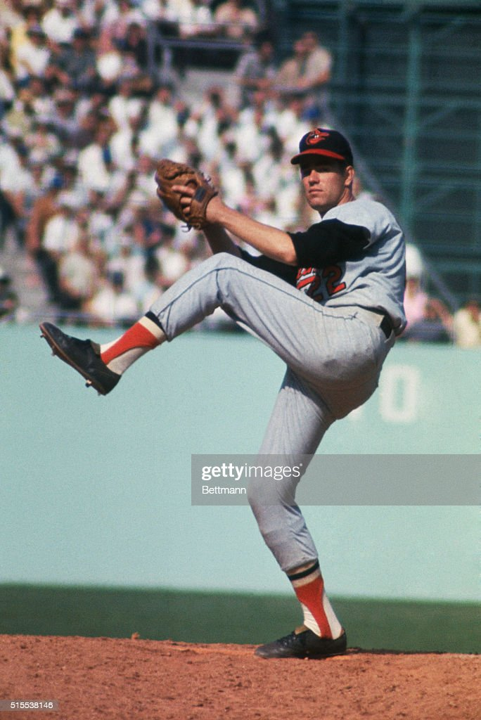 Jim Palmer of the Baltimore Orioles, pitches during a World Series game.