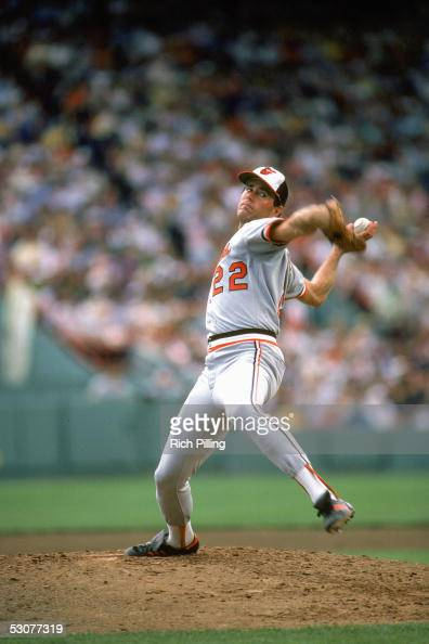 Jim Palmer of the Baltimore Orioles winds the pitch during a game Jim Palmer played for the Baltimore Oriole from 19651984