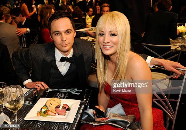 Jim Parsons and Kaley Cuoco attend the 19th Annual Screen Actors Guild Awards at The Shrine Auditorium on January 27 2013 in Los Angeles California...