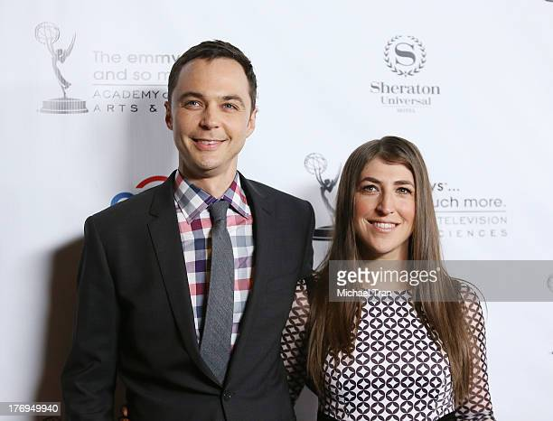 Jim Parsons and Mayim Bialik arrive at the Academy of Television Arts Sciences' Performers Peer Group cocktail reception to celebrate The 65th...