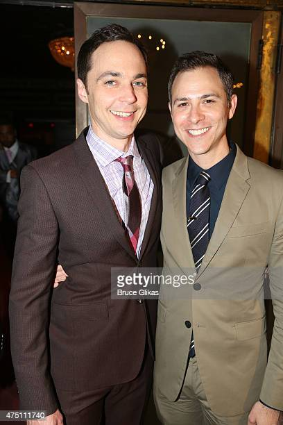 Jim Parsons and partner Todd Spiewak pose at the Opening Night After Party for 'An Act Of God' on Broadway at Brasserie 8 and 1/2 on May 28 2015 in...