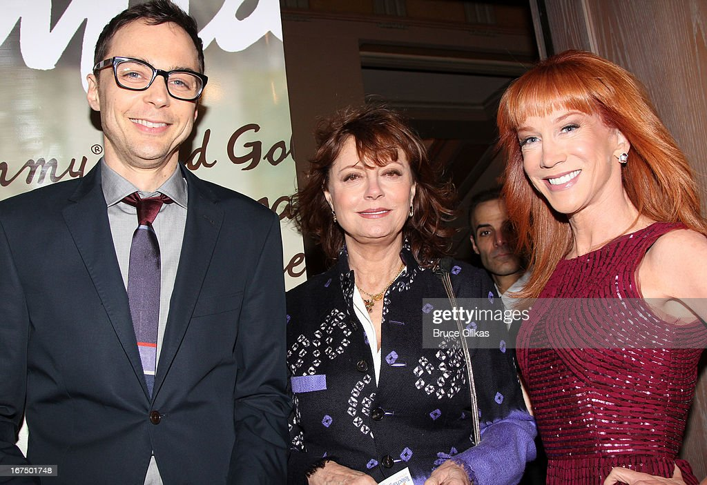 Jim Parsons, Susan Sarandon and Kathy Griffin attend the 'I'll Eat You Last: A Chat With Sue Mengers' Broadway opening night at The Booth Theater on April 24, 2013 in New York City.