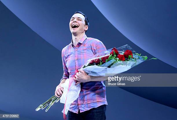 Jim Parsons takes his Opening Night Curtain call in 'An Act Of God' on Broadway at Studio 54 on May 28 2015 in New York City