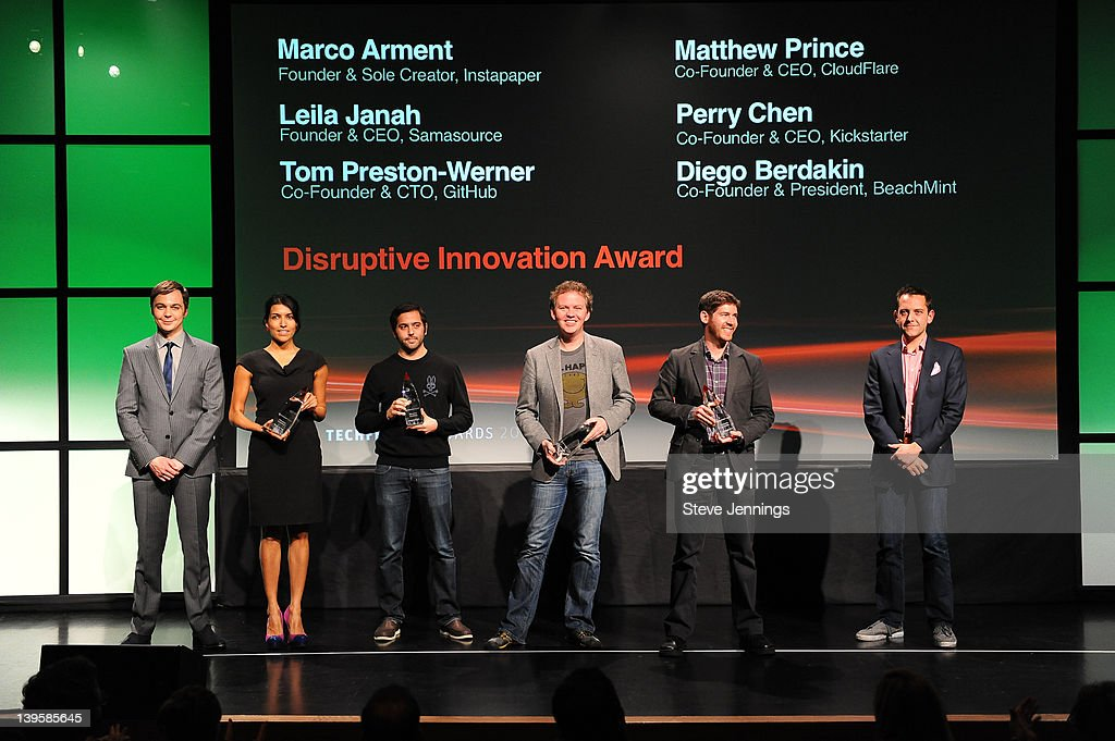 <a gi-track='captionPersonalityLinkClicked' href=/galleries/search?phrase=Jim+Parsons&family=editorial&specificpeople=2480791 ng-click='$event.stopPropagation()'>Jim Parsons</a> (L) with the winners of the Disruptive Innovation Award at the 3rd Annual TechFellow Awards at SF MOMA on February 22, 2012 in San Francisco, California.