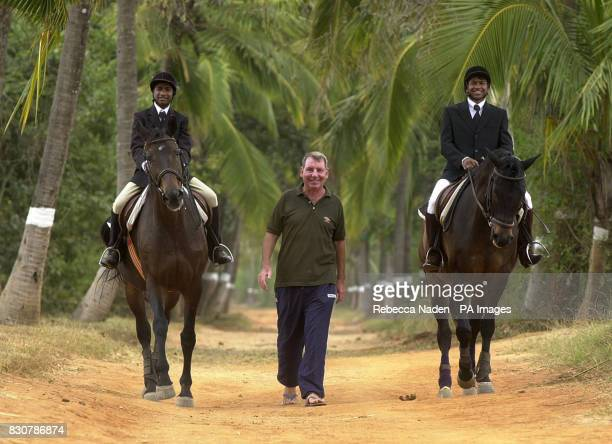 Jim Peacock from Knotty Ash Liverpool with Selveraj riding Bushka and John Son riding Bacchus in the grounds of the Embassy International Riding...