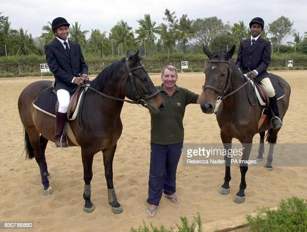 Jim Peacock from Knotty Ash Liverpool with Selveraj riding Bushka and John Son on Bacchus in the dressage ring of the Embassy International Riding...