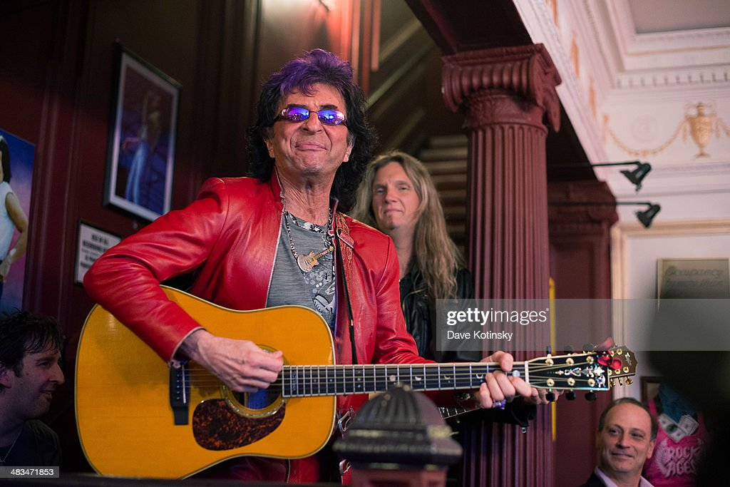 Jim Peterik from band Survivor and Joel Hoekstra attend perform 'Rock Of Ages' 5th Anniversary On Broadway celebration at Helen Hayes Theatre on...