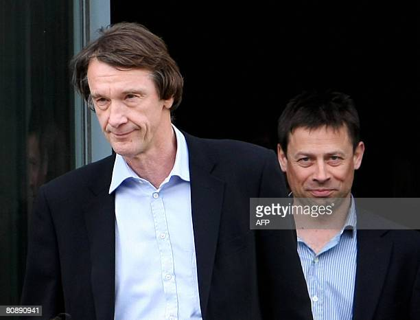 Jim Ratcliffe the founder of Ineos the owners of Grangemouth oil refinery leaves the Ineos building in Scotland on April 28 after talks with Union...