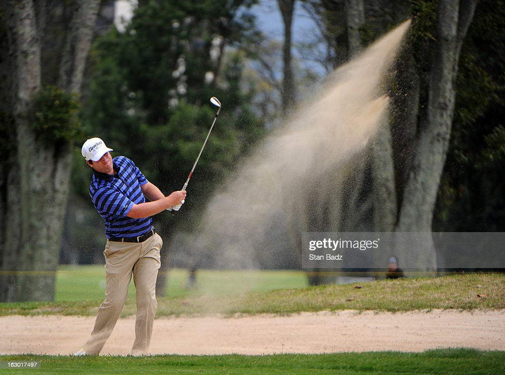 Jim Renner hits from a bunker on the sixth hole during the final round of the Colombia Championship at Country Club de Bogota on March 3, 2013 in Bogota, Colombia.