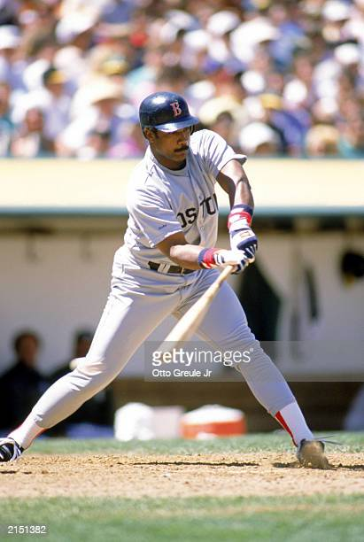 Jim Rice of the Boston Red Sox swings for the pitch during the 1989 season