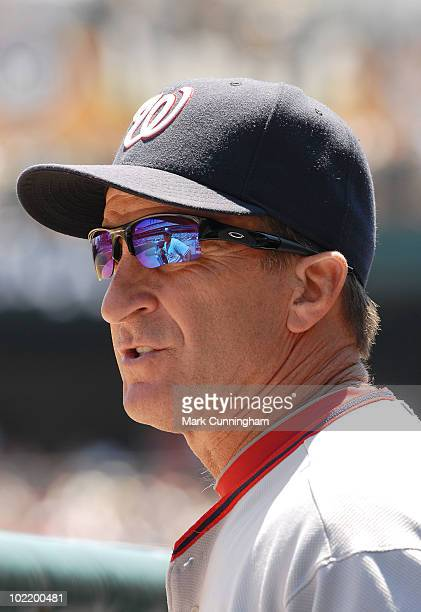 Jim Riggleman of the Washington Nationals looks on against the Detroit Tigers during the game at Comerica Park on June 17 2010 in Detroit Michigan...